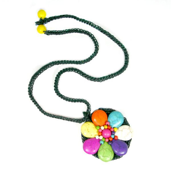Stone Flower Necklace - Flamingo Boutique