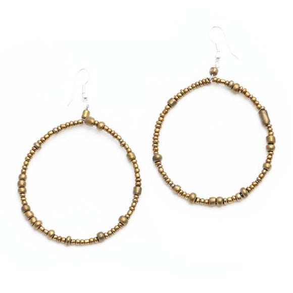 Beaded Hoop Earrings - Flamingo Boutique