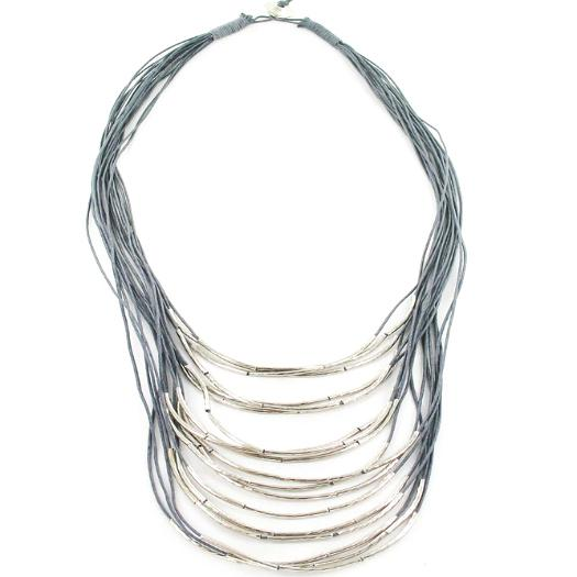 Multi-Strand Cotton & Tube Necklace