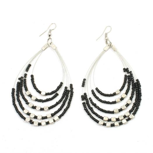 Beaded Hoop Earrings With Metalic Cubes - Flamingo Boutique