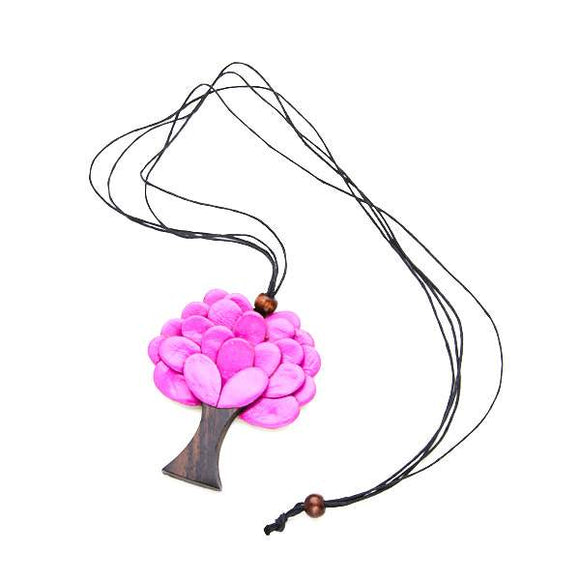 Faux Leather Tree Necklace