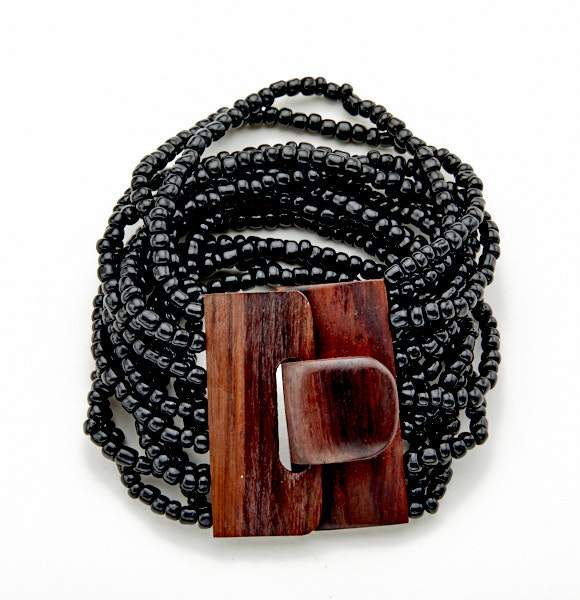 Multi-Strand Bracelet With Wooden Clasp