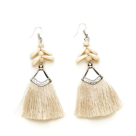 Shell & Tassel Earrings - Flamingo Boutique