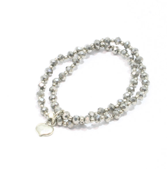 Double Strand Crystal Bracelet With Heart Charm