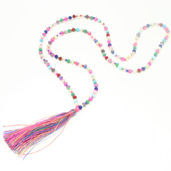 Crystal Bead Tassel Necklace