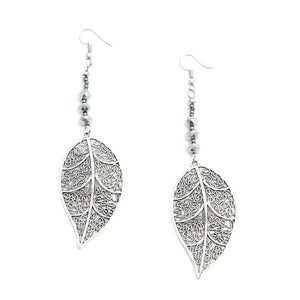 Large Leaf Earrings With Crystal - Flamingo Boutique
