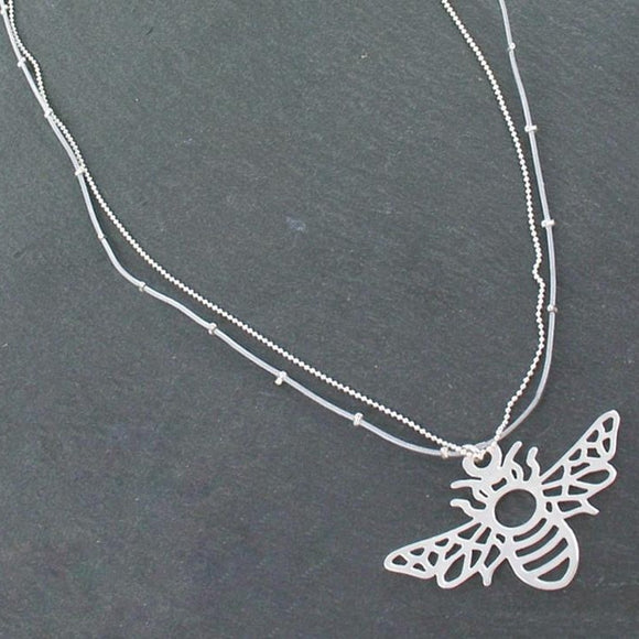 Double Stranded Necklace With Bee Pendant in Silver Plate