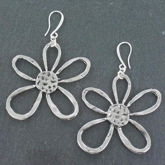 Open Flower Earrings in Silver Plate