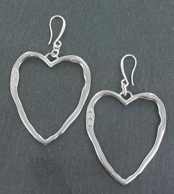 Open Heart Earrings in Silver Plate