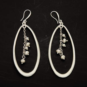 Oval Earring With Drop Beads
