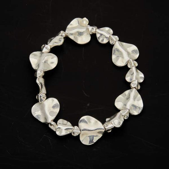 Beaten Heart Bracelet in Silver Plate