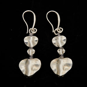 Silver Plate Double Drop Heart Earrings