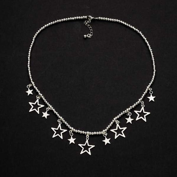 Silver Plate Short Charm Necklace With Drop Stars
