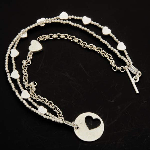 Silver Plate Multi Strand Heart Charm Bracelet With T-Bar