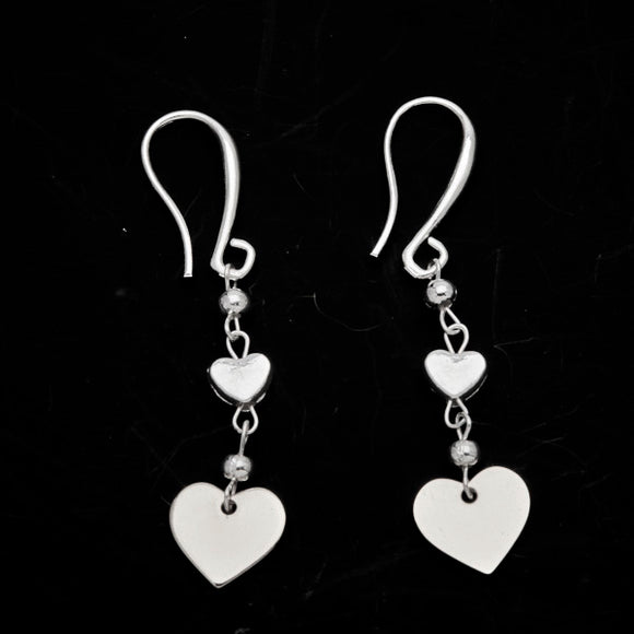 Silver Plate Double Drop Heart Charm Earrings