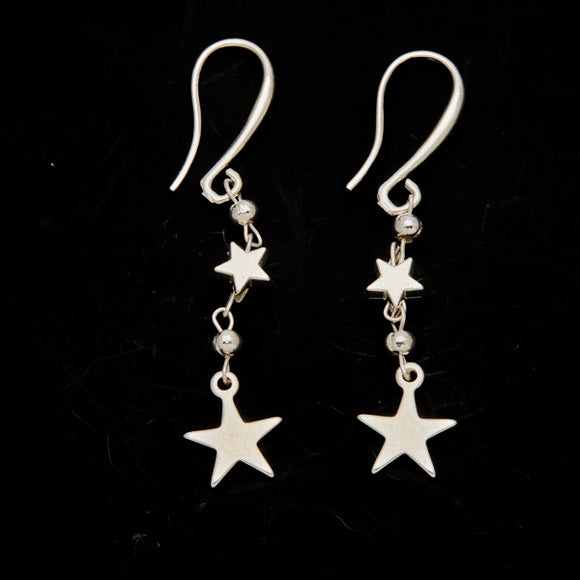Silver Plate Double Drop Star Charm Earrings