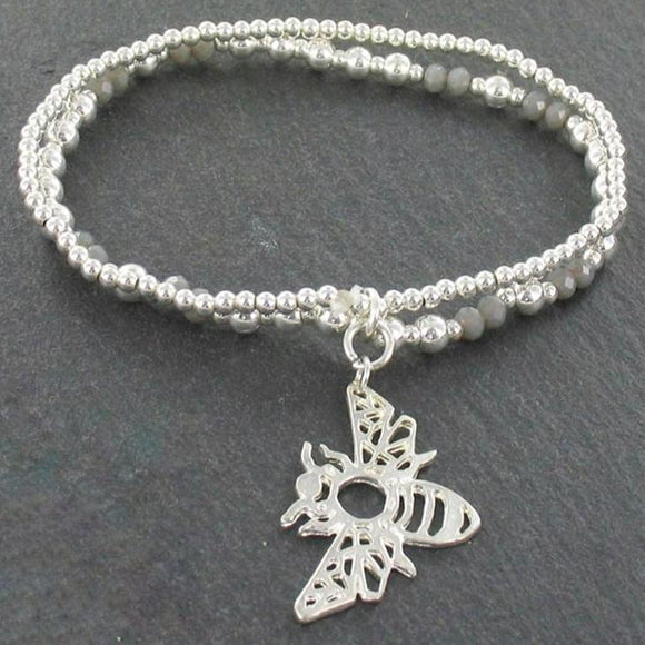 Double Strand Bracelet With Bee Pendant in Silver Plate