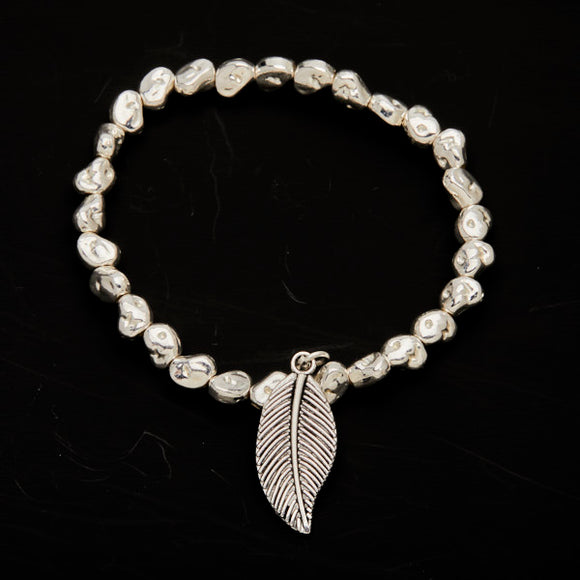 Leaf Charm Nugget Bracelet in Silver Plate