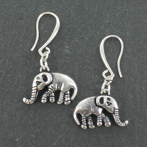 Elephant Charm Earrings in Silver Plate