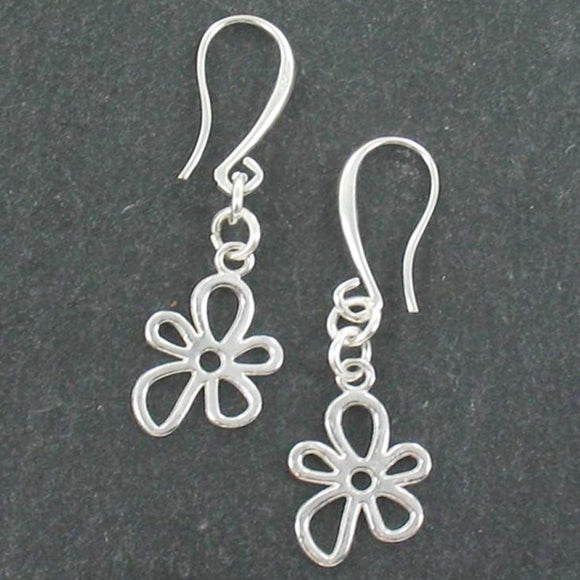 Flower Charm Earrings in Silver Plate
