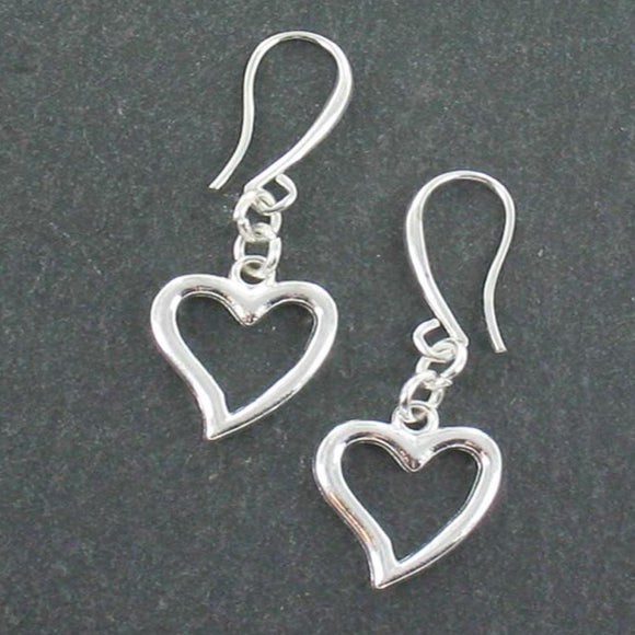 Heart Charm Earrings in Silver Plate