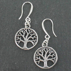 Tree of Life Charm Earrings in Silver Plate