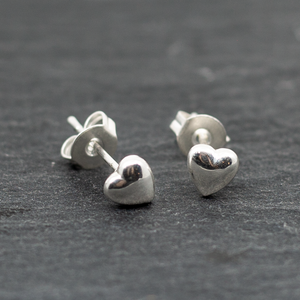 Small Domed Heart Silver Plate Stud Earrings