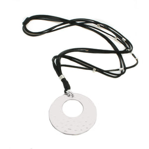 Silver Plate Disc Necklace On Black Suede
