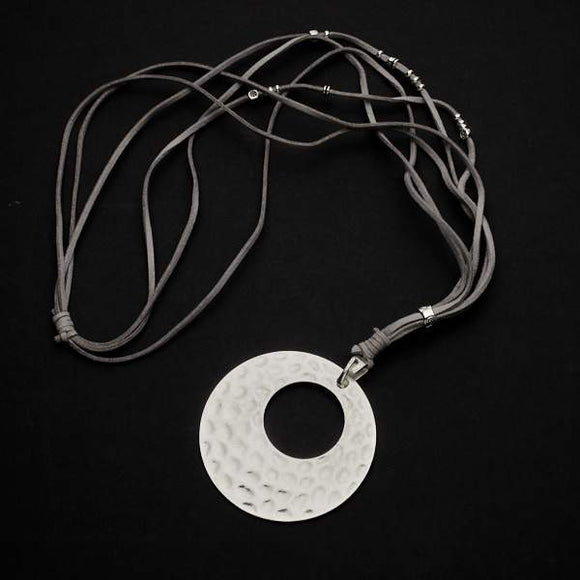 Silver Plate Suede Necklace With Beaten Disc Pendant