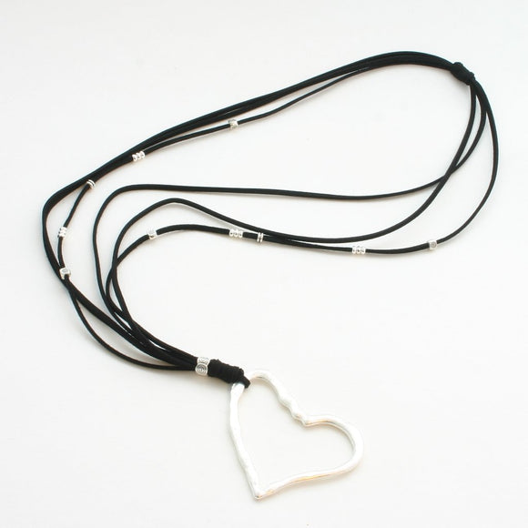 Silver Plate Heart Necklace On Black Suede