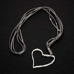 Suede Necklace With Off-Set Heart Pendant In Silver Plate