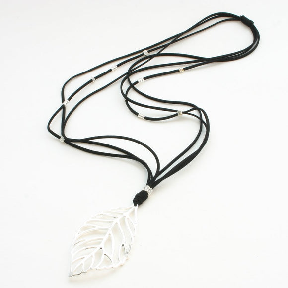 Silver Plate Leaf Necklace On Black Suede
