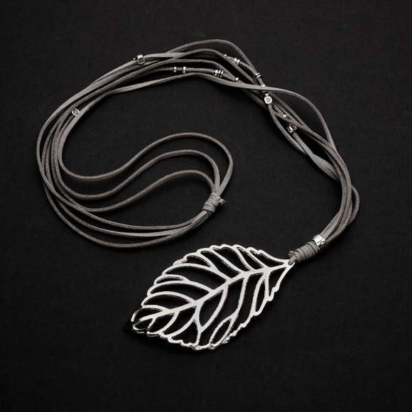 Suede Necklace With Leaf Pendant In Silver Plate