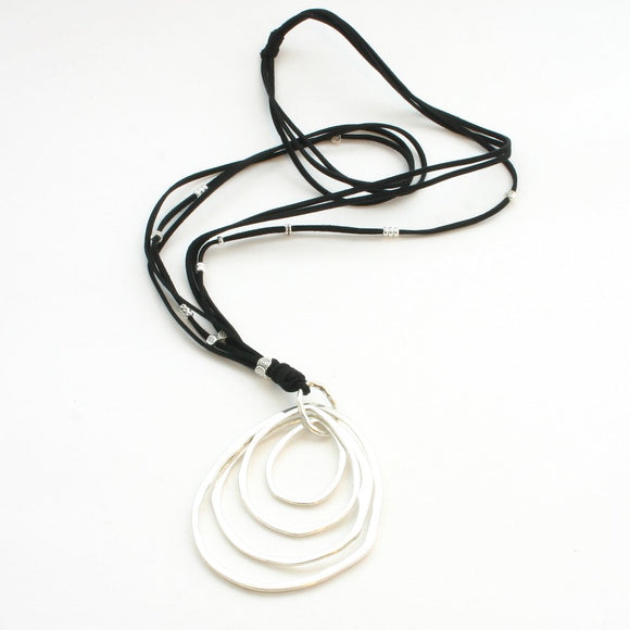 Silver Plate Ring Necklace On Black Suede