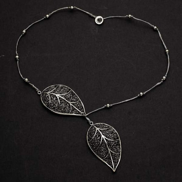 Silver Plate Short Double Leaf Necklace
