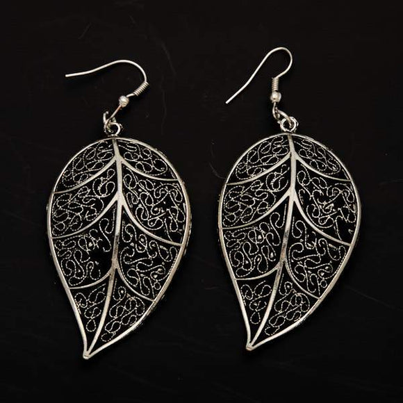 Silver Plate Large Leaf Earrings
