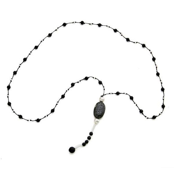 Lava Stone Necklace With Pebble in Silver Plate