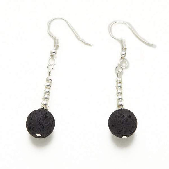 Lava Stone Earrings in Silver Plate