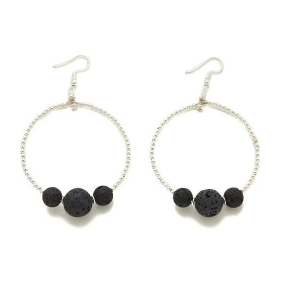 Lava Stone & Silver Plate Triple Ball Hoop Earrings