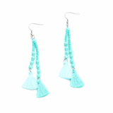 Double Tassel Crystal Drop Earring - Flamingo Boutique