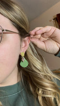 Load image into Gallery viewer, Spring Green Leaf Earrings