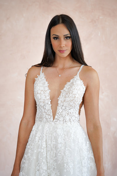 V-Neck Lace Custom Wedding Dress - Online Wedding Dresses