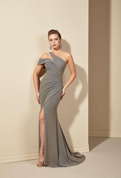 Asymmetric One Shoulder Sparkly Prom Dress with Slit