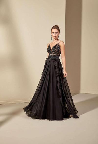 Beaded Lace Black Evening Dress with Plunging V-Neck