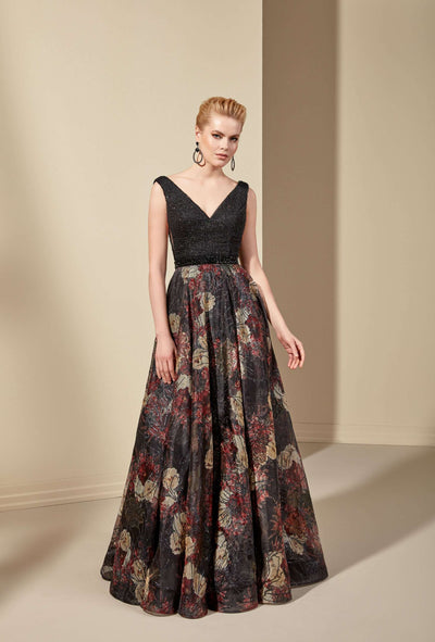 Beaded Sleeveless Mother of the Bride Dress with Printed Organza Skirt