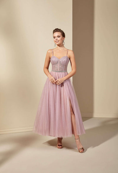 Beaded Sweetheart Formal Dress with Tulle Skirt