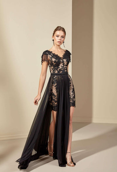 Black Chiffon Formal Dress with Beaded Lace