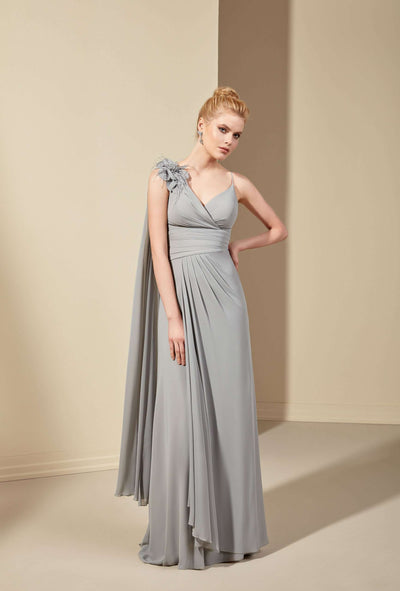 Chiffon A-Line Bridesmaid Dress with Spaghetti Straps