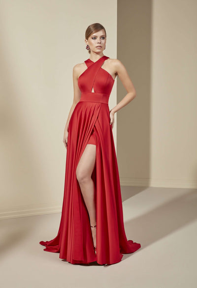 Chiffon A-Line Bridesmaid with Halter Neckline | janaanncouture.com