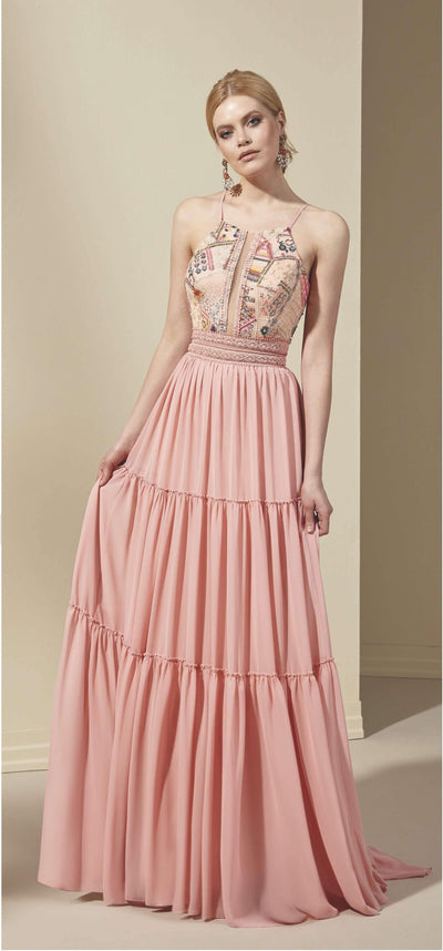 Chiffon A-Line Formal Dress with Halter Neckline